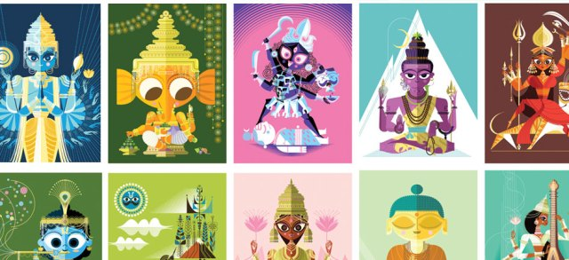 Sanjay Patel's illustration of Indian God & Goddess