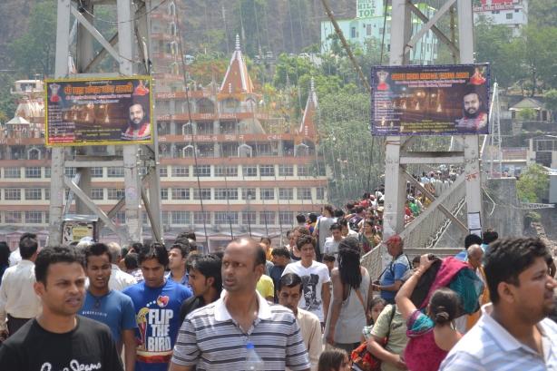 Bustling Masses : Lakshman Jhula Suspension Bridge