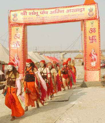 Alakh sadhus at Sangam in Allahabad to participate in the Maha Kumbh Mela 2013. Photo by Brijesh Jaiswal