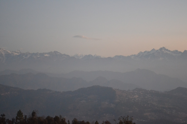 The himalayan peaks as the sun is sneak up...Pithoragarh, Uttarakhand