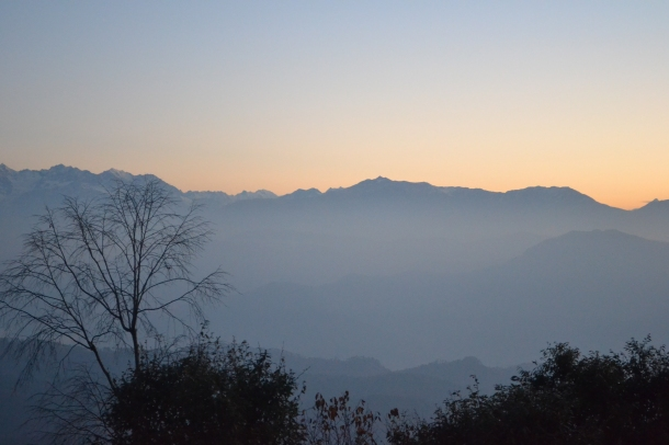 Orange sky.... First rays of sun on the Himalayas - Pithoragarh, Uttarakhand