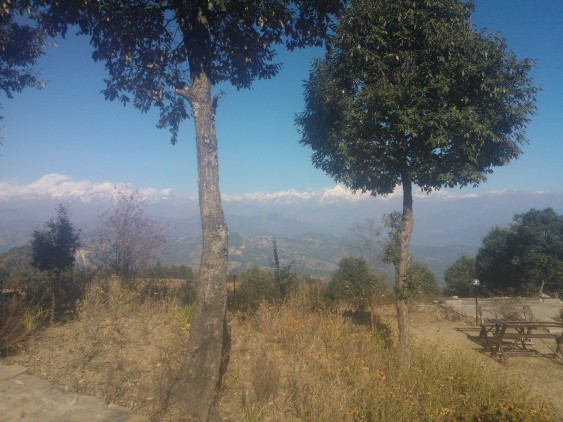 Clear blue sky and beautiful Nanda Deve & Trishul peaks of Himalayas mountain range, Jhaltola, Pithoragarh, Uttarakhand