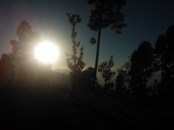 Sun setting behind Himalayan hills covered with Pine & Oak Tree forest, Jhaltola, Pithoragarh, Uttarakhand