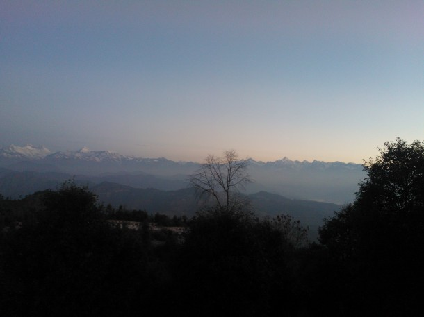 Nandha Devi Range of  Himalayas at the break of Dawn, Jhaltola, Pithoragarh, Uttarakhand