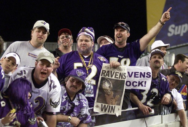 Baltimore Ravens' fans celebrate after their team