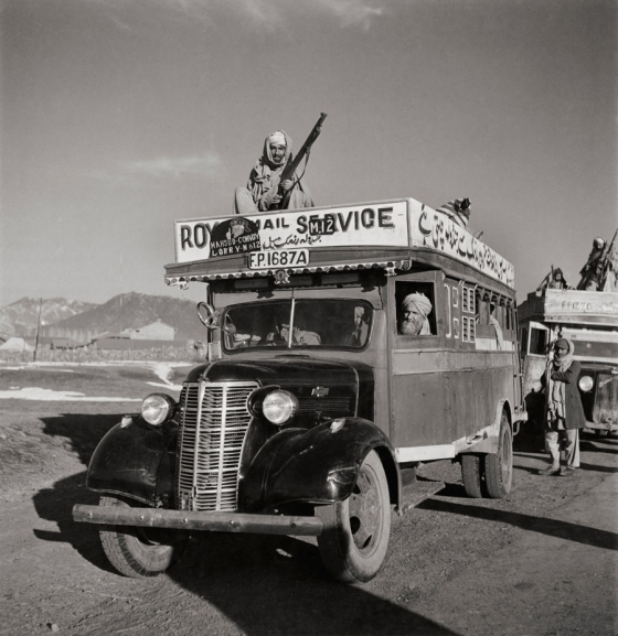 April 1946 : A Royal Mail bus with armed guards heads out from Razmak to Jandola
