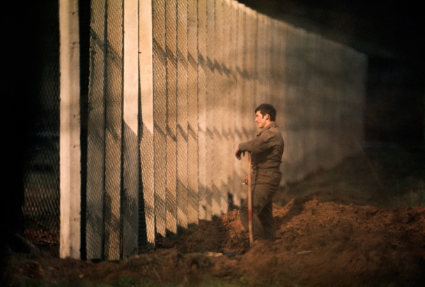 September 1974, Barlin : An East German man standing near the Berlin Wall