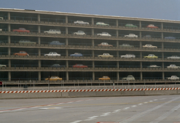 Cars are seemingly stacked atop one another in Frankfurt's airport parking lot.