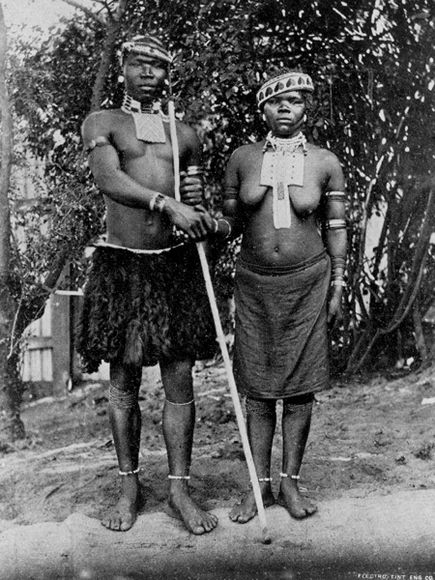 November 1, 1896  Zulu bride and groom in Witwatersrand, South Africa : The issue of National Geographic that was published on this day was a milestone in the legendary magazine's history.  It was the first time the publication included a photograph of a bare-breasted woman.