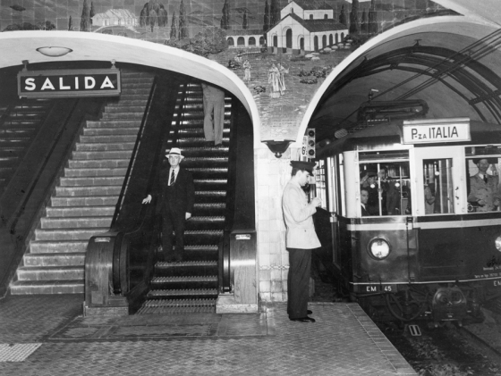 November 1939, Argentina : Subway train headed to the Plaza Italia Station in Buenos Aires