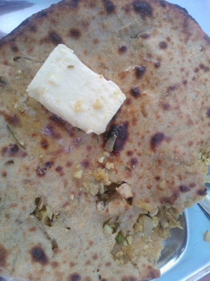 Gobhi Parantha with lots of butter at Deepak Dhaba, Sangrur, Punjab