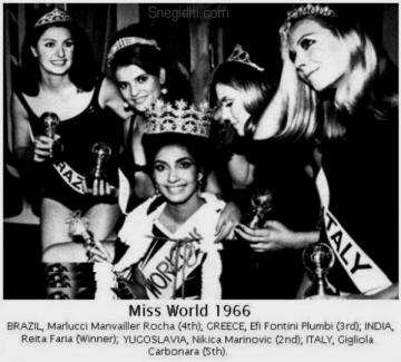 1966 Reita Faria crowned Miss World, the first Indian to win the title