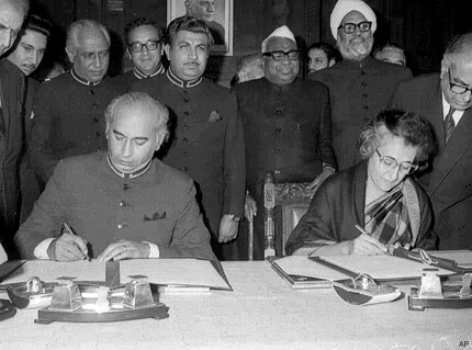 1972 Following Pakistan's surrender to India in the Indo-Pakistani War of 1971, both nations sign the historic bilateral Simla Agreement, agreeing to settle their disputes peacefully.