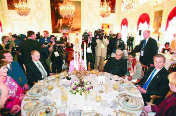 2003 India Shining Prime Minister Vajpayee has the rare honour of joining the head table at the 300th foundation day of St. Petersburg with Vladimir Putin and George W. Bush.