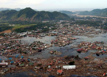 2004 Tsunami off the west coast of Sumatra island, Indonesia sweep across much of the coastlines of South Asia
