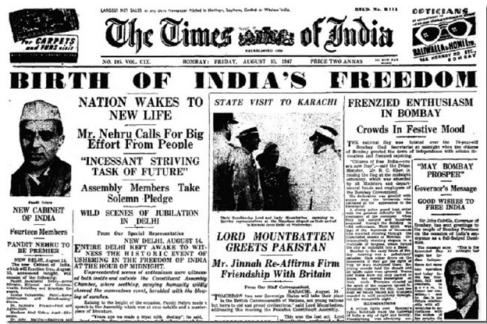 1947, 15th August India gets Independence
