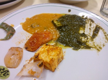 Yummy Food...I'm happy with my Palak Paneer and Daal