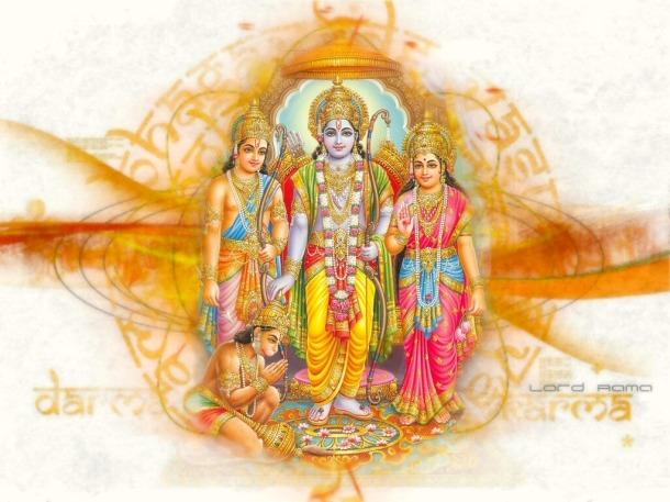 Rama with Sita, Lakshama and Hanuman