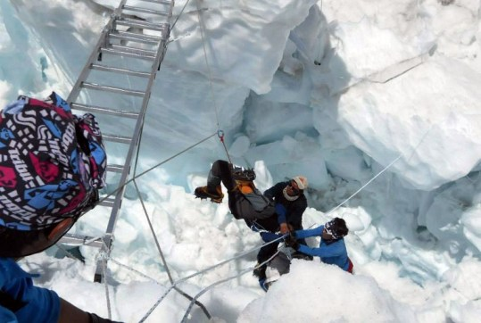 Rescuing Operation after the Recent Avalanche which killed 16 Sherpas at Mount Everest
